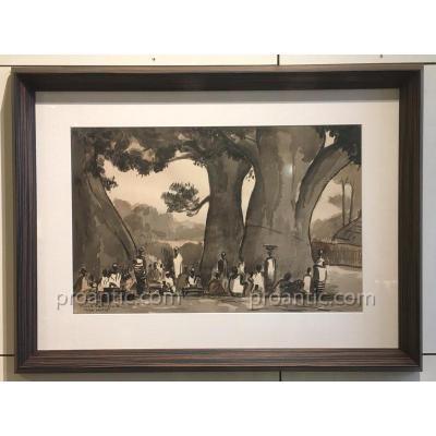 Pierre CASTAGNEZ: Thiès Sénégal, lavis signé situé daté 1944