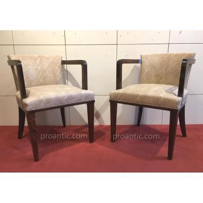 Paire de fauteuils ébène de Macassar massif, 1930, refaits
