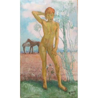 Maurice MINSART/MEYNAERT: Garçon nu, peinture 1944 signée