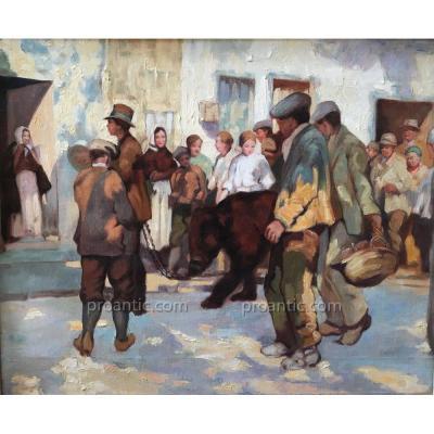 Montreur d'ours, huile sur toile, 1930, non signée