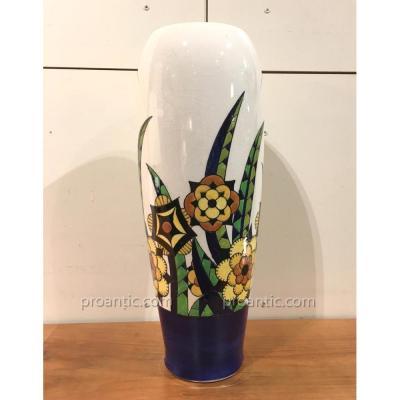 Atelier CATTEAU & KERAMIS: Grand vase art-déco 1929, signé