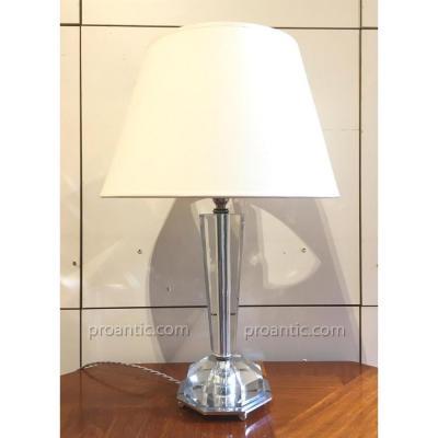 Lampe de table moderniste 1930, cristal et chrome