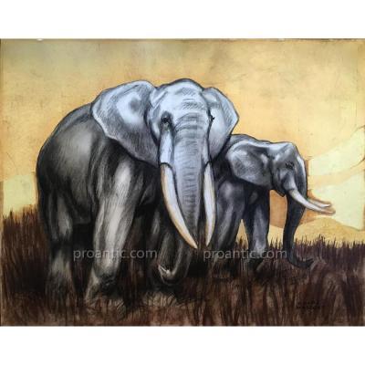 André MARGAT: Eléphants, pastel/feuilles d'or, signé 1930