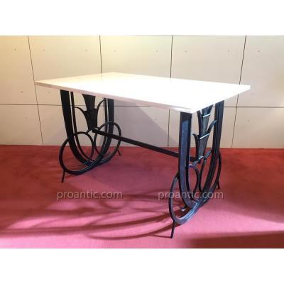 Table basse 1930 fer forgé, plateau travertin