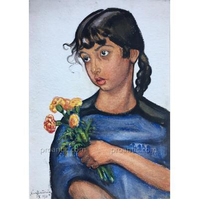 Nina ALEXANDROWICZ: Fillette aux œillets, signée datée 1920