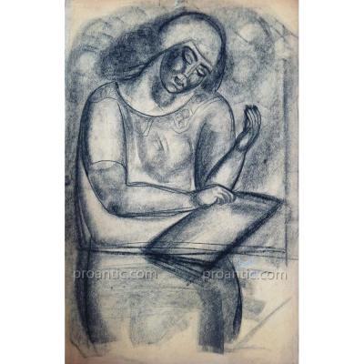 Lydia RADDA (1891-1967): Femme lisant, fusain, 1924, signé