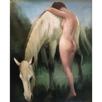 André MARE (1885-1932): Exceptionnelle peinture art-déco signée, 1925