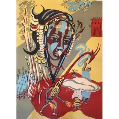 Monique CRAS (1910-2007): Affiche Afrique 1950, signée