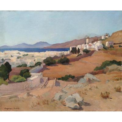 Suzanne LOUP: Paysage méditerranéen, hst 1930 signée