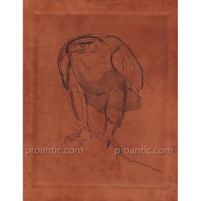 Paul JOUVE (1878-1973): Aigle à l'eau-forte sur cuir basane