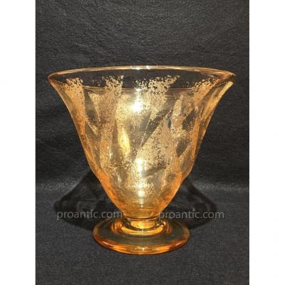 Daum: Etched Yellow Glass Vase Engraved With Acid, 1930, Signed