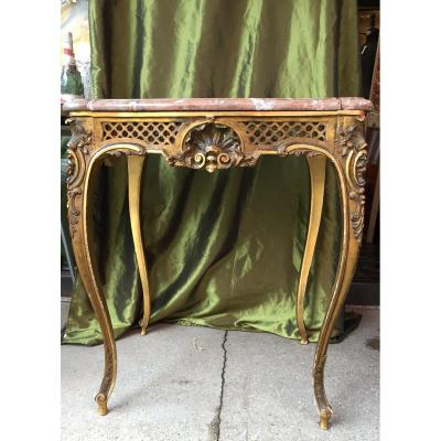Console In Gilded Wood And Marble Top