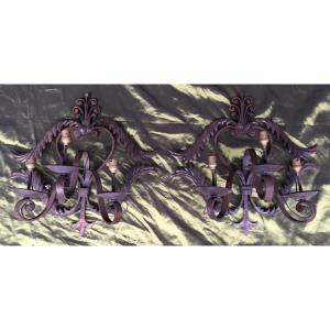 Pairs Of Wrought Iron Sconces