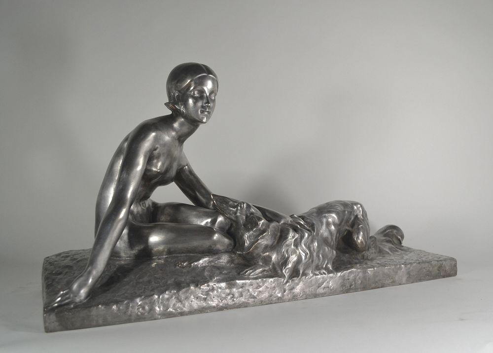 George Coste. Femme Au Lévrier Bronze Art Deco