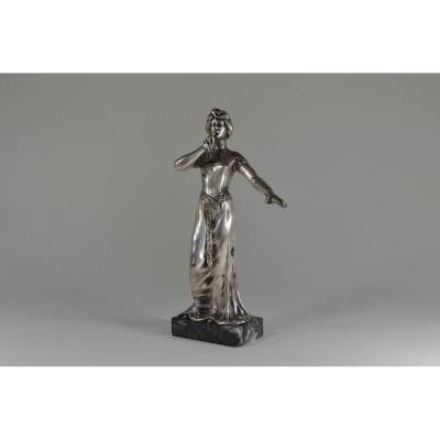 Art Nouveau Sculpture Symboliste Bronze Argenté