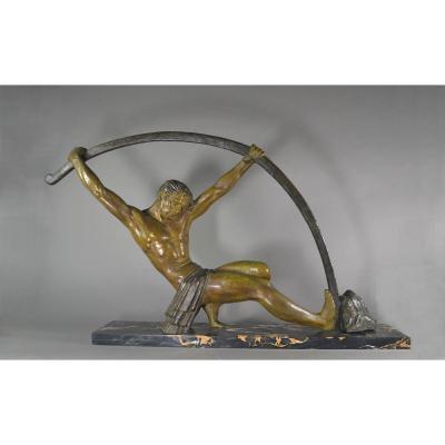 """Chiparus, """"l'age Du Bronze"""" Grande Sculpture Art Deco"""