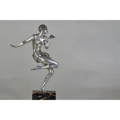 Gauthier Bronze Danseuse Aux Roses Art Deco