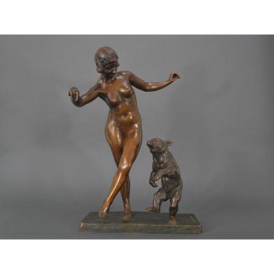 Jean Verschneider. Danseuse à l'Ourson. Bronze art deco