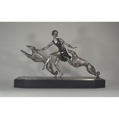 J. Lormier. Grand Bronze Art Deco. La Femme Aux Lévriers
