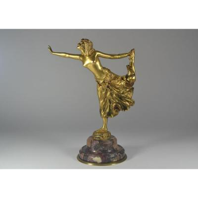 Cjr Colinet. Bronze Doré. Danseuse Egyptienne.
