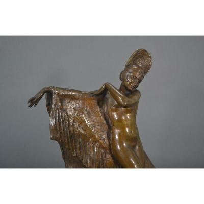 Louis Botinelly Sculpture En Bronze Art Deco 1928 Danseuse Espagnole