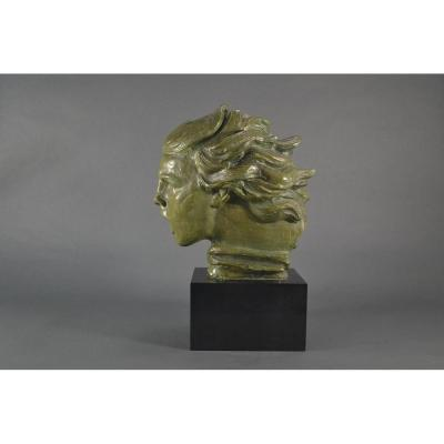 Buste En Bronze Art Deco Alexandre Kelety