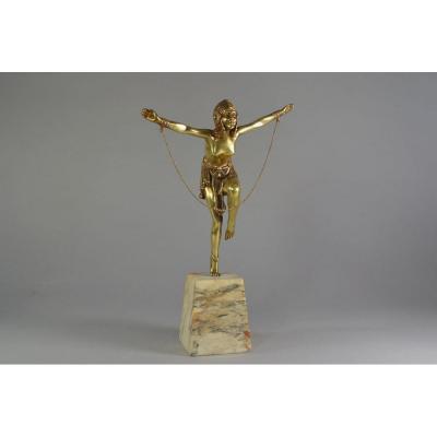 Dh. Chiparus. Danseuse à La Chaine. Epreuve En Bronze. 1925