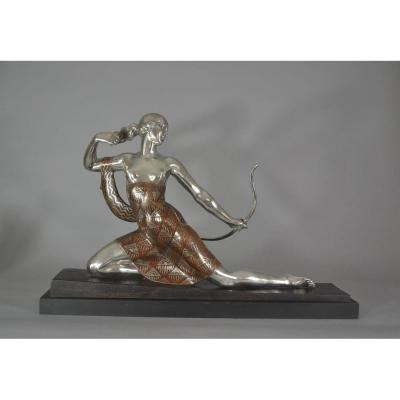 Joe Descomps. Sculpture En Bronze. Diane Chasseresse. Art Deco