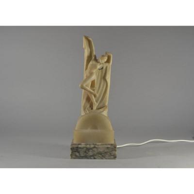 Ruggeri. Sculpture Eclairante En Albatre Danseuse Art Deco