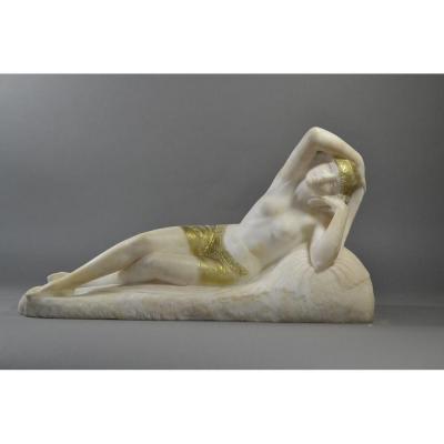 G. Pugi. Sculpture Art Deco Orientaliste Odalisque En Albatre