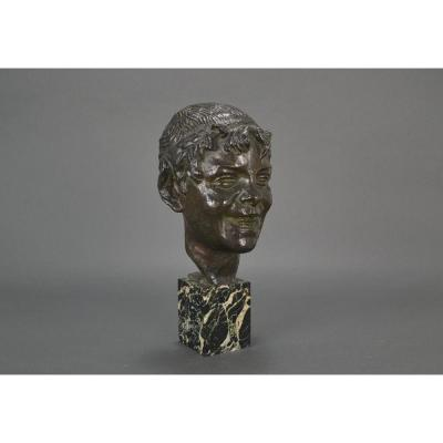 Germaine Oury. Buste De Faune En Bronze Art Deco