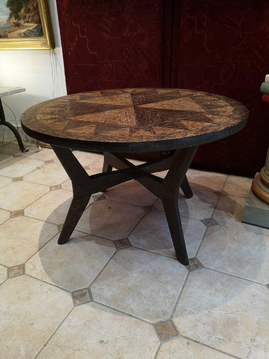 Colonial Art Deco Pedestal Table In Palm Tree Veneer