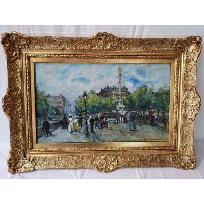 Tableau Huile Sur Toile Signée Antoine Blancgard  Le Pont Au Change A Paris
