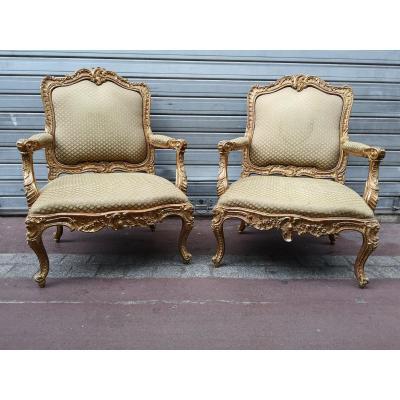 Pair Of Large Italian Bergères 19th Century Rococo Style