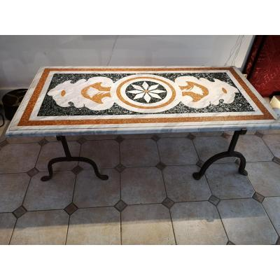 Table Basse Plateau Marbre Et Piétement En Fer Forgé
