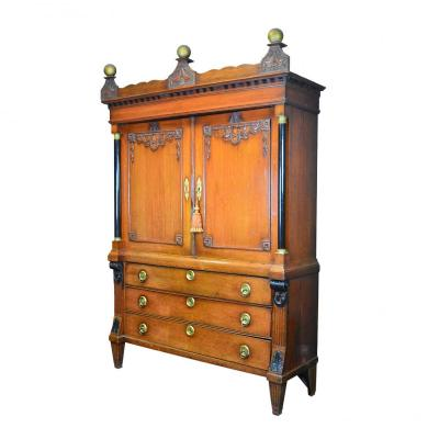 Dutch Cabinet Of The Louis XVI Period With Two Parts In Oak