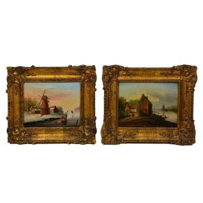 Paire De Tableaux Ancien 19eme Hollandaise