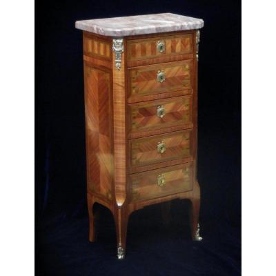Petite Commode De Style Louis XVI Marquetrie