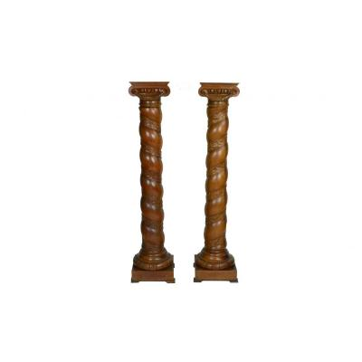 Paire De Colonnes En Chene Sculpte 19eme