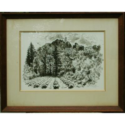 "André Hambourg ""landscape In ""bonnieux"" 1946 Drawing Indian Ink 27x38"