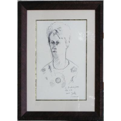"Jules Cavailles ""portrait Of A Woman"" Indian Ink Drawing 47x35"