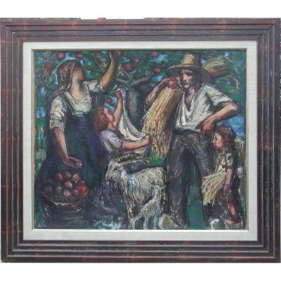 "David Blanes ""work In The Orchard"" 1923 Oil On Paper 54x62"