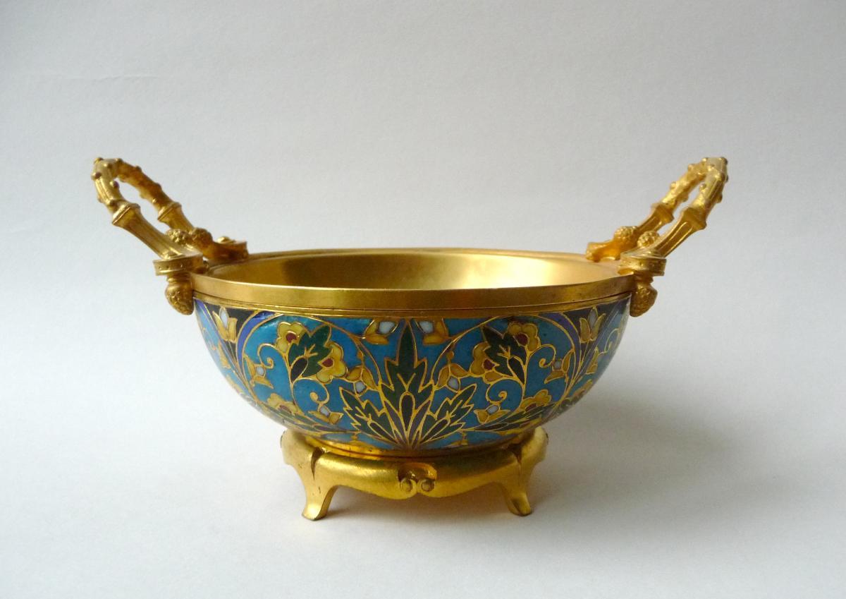 Barbedienne, Coupe En Bronze Et Email Cloisonné Champlevé
