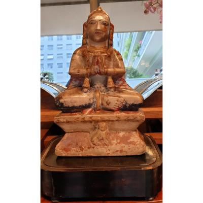 Statue Indienne en pierre polychrome