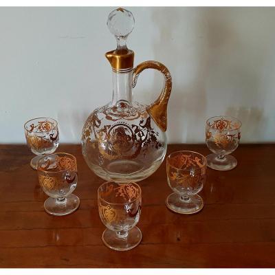 Liqueur Carafe And Its 5 Glasses