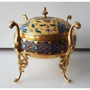 Barbedienne, Boîte en Bronze et émail Cloisonné Champlevé