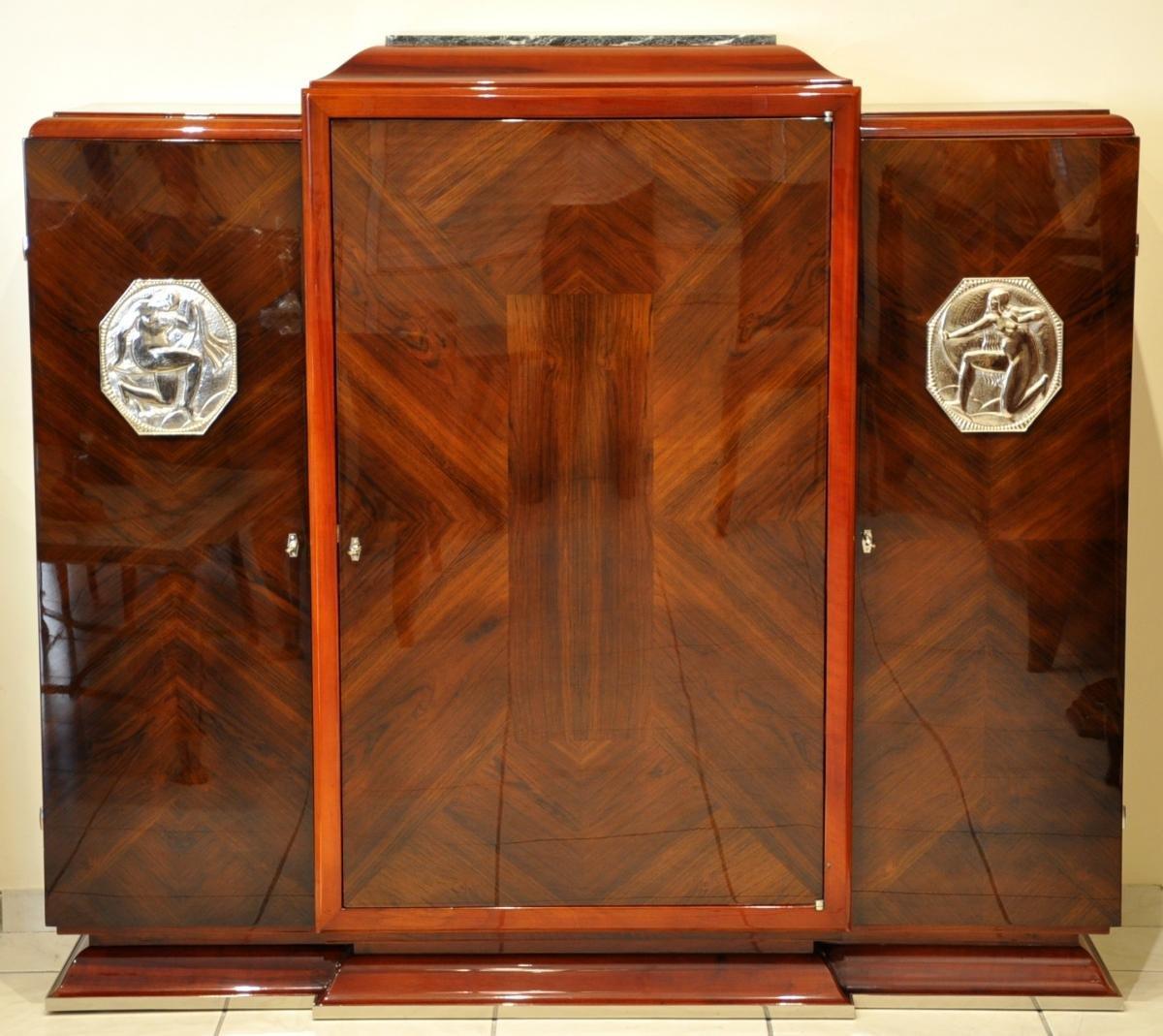 Jean Desnos Cabinet Palissandre Et Amarante Art Deco 1930