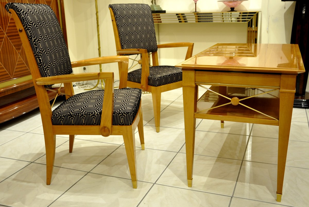 Jean Desnos Set Of Living Room Pair Of Armchairs & Table Circa 1940-photo-4