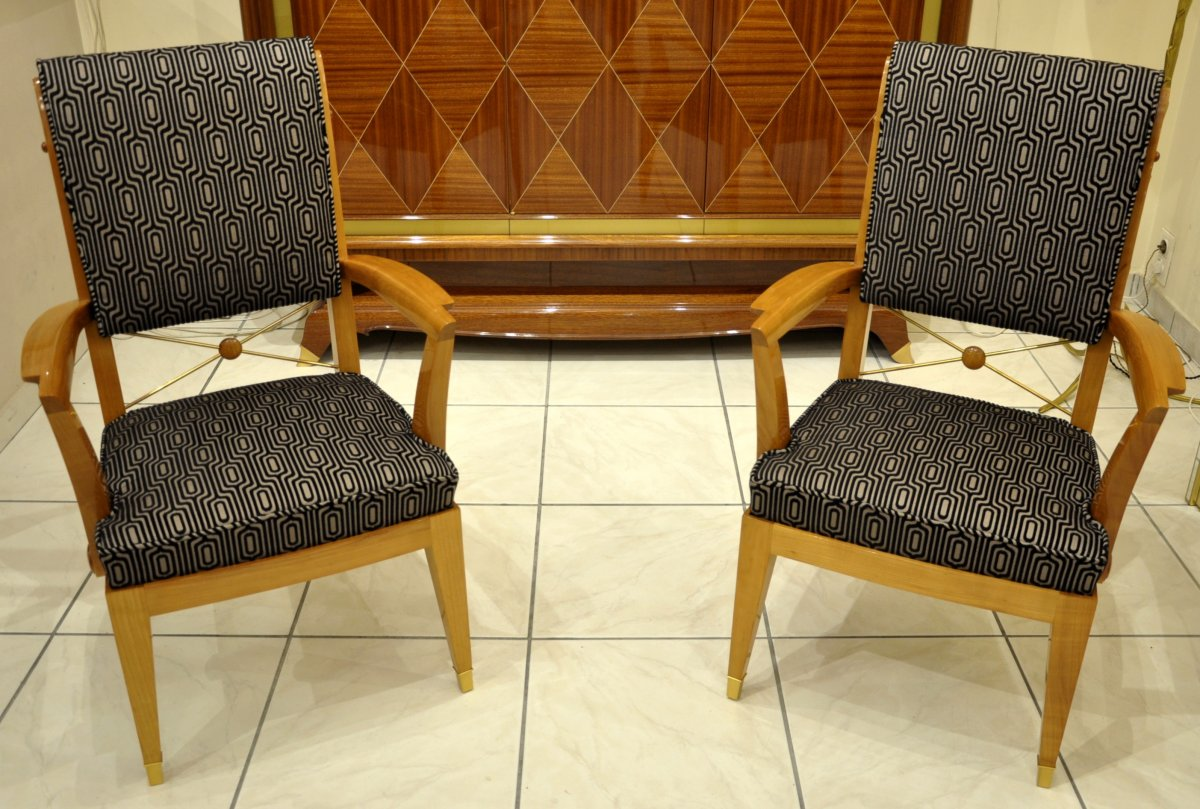 Jean Desnos Set Of Living Room Pair Of Armchairs & Table Circa 1940-photo-1