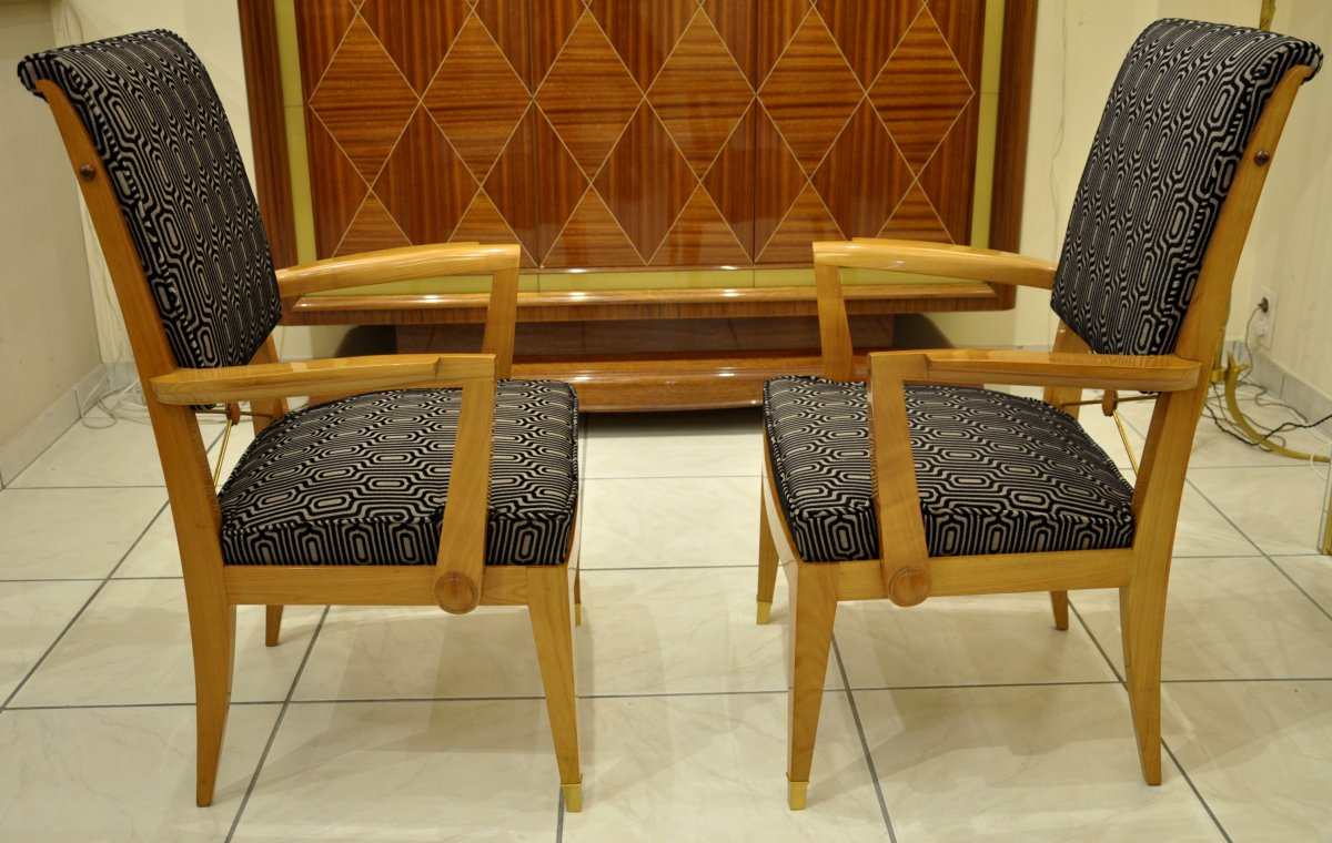 Jean Desnos Set Of Living Room Pair Of Armchairs & Table Circa 1940-photo-2
